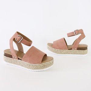 Ankle strap jute flatform sandal espadrilles